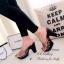 รองเท้าส้นสูง แบบสวม สายคาดแบบใส ลายกุชชี่ (สีดำ ) thumbnail 3