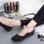 รองเท้าคัทชูส้นเตี้ยสีดำ หน้าวี สไตล์ GUCCI (สีดำ ) thumbnail 5