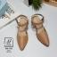 รองเท้าคัทชูรัดข้อสีน้ำตาล หัวแหลม เปิดส้น (สีแทน ) thumbnail 2