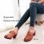 รองเท้าส้นตันเปิดส้นสีน้ำตาล แต่งอะไหล่โลหะเหลี่ยมสีทอง (สีน้ำตาล ) thumbnail 3