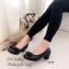 รองเท้าคัทชู ส้นสูง หัวตัด บุนวม (สีดำ ) thumbnail 2