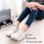 รองเท้าผ้าใบส้นเตารีดสีครีม แต่งโบว์ หนังกลับ (สีครีม ) thumbnail 4