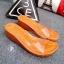 รองเท้าส้นเตารีดเปิดส้นสีส้ม สไตล์ลำลอง พียูใสนิ่มไม่บาดเท้า (สีส้ม ) thumbnail 2