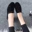 รองเท้าคัทชูส้นเตี้ย แบบผูกเชือก สักหราดนิ่ม ดูดีมีสไตล์ (สีดำ ) thumbnail 5