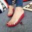 รองเท้าส้นเตารีดเปิดส้นสีแดง สไตล์ลำลอง พียูใสนิ่มไม่บาดเท้า (สีแดง ) thumbnail 2