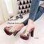 รองเท้าส้นสูงเปิดส้น แบบสว หน้าสาน สไตล์Ysl (สีทอง ) thumbnail 4
