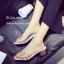 รองเท้าส้นตันสีครีม พียูใสไม่บาดเท้า แต่งเพชร (สีครีม )