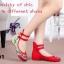 รองเท้าส้นเตี้ย รัดข้อ งานปัก (สีแดง ) thumbnail 5