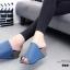 รองเท้าเตารีดเปิดส้นสีน้ำเงิน ทรงสวม หนังกลับ (สีน้ำเงิน ) thumbnail 5