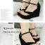 รองเท้าส้นเตารีดรัดส้นสีดำ แบบคีบ หนังกลับ (สีดำ ) thumbnail 2