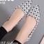 รองเท้าคัทชูส้นแบน หัวแหลม หนังพียูนิ่ม ลายBaoBao (สีขาว ) thumbnail 1
