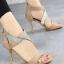 รองเท้าส้นสูง ปิดส้น รัดข้อเท้า สายคาดเพชร (สีแอปปริคอท ) thumbnail 1
