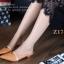 รองเท้าส้นเตี้ย หัวแหลม เปิดส้น สายคาดสีทอง (สีน้ำตาล ) thumbnail 2