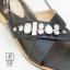 รองเท้าแตะรัดส้นสีดำ สายคาดไขว้ ประดับเพชร (สีดำ ) thumbnail 5