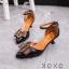 รองเท้าส้นเตี้ยรัดข้อสีดำ หัวแหลม แต่งอะไหล่ gucci (สีดำ ) thumbnail 3