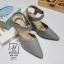 รองเท้าคัทชูรัดข้อสีน้ำตาล หัวแหลม เปิดส้น (สีเทา ) thumbnail 3