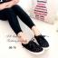 รองเท้าผ้าใบ ลายลูกไม้ ผ้าโครเชถัก พื้นหุ้มเชือกปอ (สีดำ ) thumbnail 3