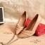 รองเท้าคัทชู ส้นสูง หัวแหลม ทรงเก็บหน้าเท้า (สีน้ำตาล ) thumbnail 3