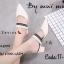 รองเท้าส้นตันสีครีม หัวแหลม ดีไซน์หน้า v สายรัดเท้า (สีครีม )