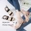 รองเท้าส้นเตี้ยรัดข้อสีแอปริคอท ขอบหยัก สไตล์สาวเกาหลี (สีแอปริคอท ) thumbnail 2