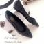 รองเท้าคัทชูส้นแบน หัวแหลม หนังพียูนิ่ม ลายBaoBao (สีดำ ) thumbnail 4