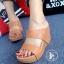 รองเท้าส้นเตารีด แบบสวม สายคาด2ระดับ (สีเทน )