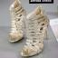 รองเท้าส้นสูง หุ้มข้อ สไตล์เซ็กซี่ ส้นติดซิป (สีทอง ) thumbnail 3