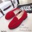 รองเท้าหุ้มส้น ส้นเตี้ย หนังกำมะหยี่ (สีแดง ) thumbnail 4