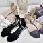 รองเท้าส้นเตี้ยรัดข้อสีดำ มีสายมุกรัดข้อปรับระดับ (สีดำ ) thumbnail 7