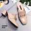 รองเท้าคัทชูเปิดส้นสีชมพู สไตล์สวม หนังแก้ว (สีชมพู ) thumbnail 4