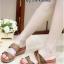 รองเท้าแตะส้นเตารีด แบบสวม สายคาดผ้าซาตินไขว้ (สีน้ำตาล )