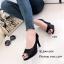 รองเท้าคัทชูส้นสูง หนังกลิตเตอร์ เปิดหน้าเท้า ซับในกำมะหยี่นุ่ม (สีดำ ) thumbnail 5
