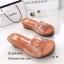 รองเท้าแตะเปิดส้น สไตล์ลำลอง ส้นเตารีด แต่งโลโกCC (สีน้ำตาล ) thumbnail 3