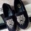รองเท้าผ้าใบหนัง โชว์ลายเย็บ แต่งหน้าเสือ (สีดำ )