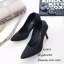 รองเท้าคัทชูส้นสูง หัวแหลม หนังนิ่ม ฉลุลาย (สีดำ ) thumbnail 3