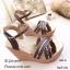 รองเท้าส้นเตารีดรัดข้อ หน้าไขว้ หนังเมทัลลิคสีทอง ส้นพียูลายไม้ (สีทอง ) thumbnail 2