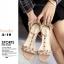 รองเท้าส้นตันรัดข้อสีครีม T-Strap สไตล์ VALENTINO (สีครีม ) thumbnail 4