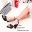 รองเท้าส้นตันรัดข้อสีดำ หนังซัฟฟิโน ส้นเหลี่ยม (สีดำ ) thumbnail 3