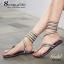 รองเท้าแตะพันข้อสีเงิน ลายงูประดับเพชร สไตล์ gladiater (ทอง ) thumbnail 3