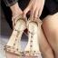 รองเท้าส้นตันรัดข้อสีครีม T-Strap สไตล์ VALENTINO (สีครีม )