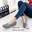 รองเท้าส้นเตี้ย เพื่อสุขภาพ หนังนิ่ม สไตล์วินเทจ (สีเทา ) thumbnail 2