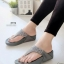 รองเท้าแตะ หูคีบ เพื่อสุขภาพ แต่งเพชร (สีเทา )