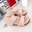 รองเท้าส้นเตารีด แบบสวม สายคาด2ระดับ (สีครีม ) thumbnail 2