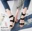 รองเท้าส้นเตี้ยรัดข้อสีดำ ขอบหยัก สไตล์สาวเกาหลี (สีดำ )