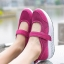 รองเท้าผ้าใบเสริมส้นสีชมพู ผ้าทอตาข่าย สายรัดเมจิกเทป (สีชมพู ) thumbnail 2