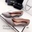 รองเท้าคัทชูหัวแหลม ส้นเตี้ย ขอบหยัก หน้าV (สีเทา ) thumbnail 3