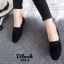 รองเท้าคัทชูส้นเตี้ย แบบผูกเชือก สักหราดนิ่ม ดูดีมีสไตล์ (สีดำ ) thumbnail 4