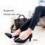 รองเท้าคัทชูหัวแหลมสีดำ เปิดข้าง หนังนิ่ม (สีดำ )