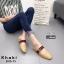 รองเท้าส้นเตี้ยเปิดส้นสีกากี แต่งอะไหล่ทอง GG (สีกากี ) thumbnail 1