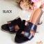 รองเท้าส้นสูง ทรงสวม ส้นปั้มลายไม้ หนังนิ่ม (สีดำ ) thumbnail 2